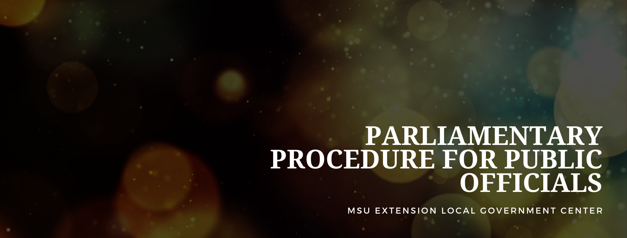 Parliamentary Procedure for Public Officials MSU Extension Local Government Center
